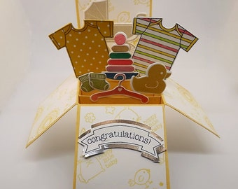 Card in a box, for a new baby,  yellow die cut card pop up card, box card