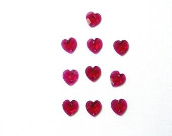 Acrylic hearts, fuschia pink, sewing