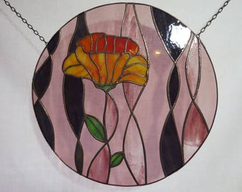 stained glass suncatcher with flower