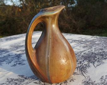 Denbac Art Deco Vintage French Ceramic Majolica or 'Barbotine' Posy Pitcher or Jug  Marked Denbac of France