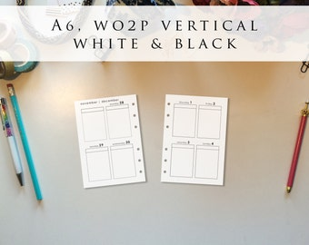 A6 planner inserts - week on 2 pages (WO2P), vertical, Mon-Sun, white and black, pre-punched (A6.7)