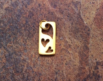 Heart Charm, Heart Pendant, Cut Out Heart Charm, Three Hearts Charm, Gold Heart Charm, Heart Cut Out Charm, Circle Heart Charm