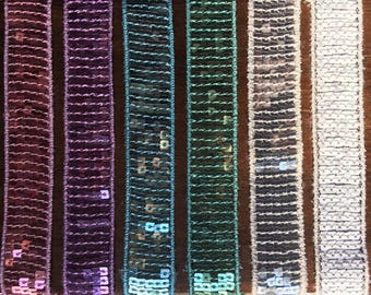 """SAMPLE Ribbon SEQUINS """"Summer"""" glitter 6 colors width 2.2 cm by 25 cm"""