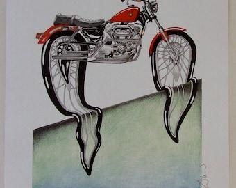 Simon Drew Dali Havidson motorbike LARGE print signed art BNIB Humorous lawyer husband man biker solicitor barrister wife lover art gift