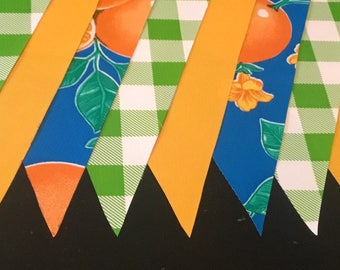 KIT #26 (2 pk) Florida Picnic 15' Oilcloth Pennant Banners Bunting Oranges Flag UF Garland Party Shower Camper Photo Prop