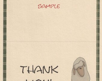 Primitive Sheep Note Cards ~ N33