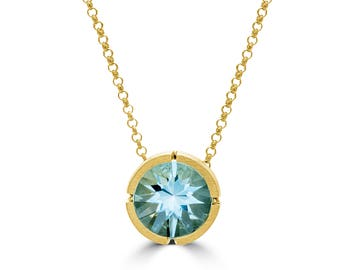 Blue Topaz, 14k Gold Plated & Sterling Silver Necklace