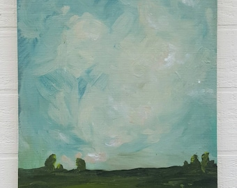 Vintage Sky Original Acrylic Impressionism Painting on Found Wood Panel