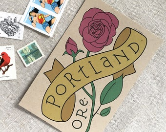 Portland Oregon Rose Postcard Set / Postcard Set of 6 / Rose City Souvenir Postcard / PDX Travel Postcard / Portland Oregon Illustrated Rose