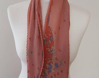 1960s Original Vintage Dusky Pink Blue And Green Floral Crinkle Design Long Neck Tie Scarf Vintage Woman, Vintage Style, Vintage Accessories