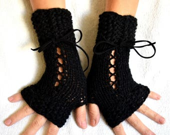 Black Hand Knit Fingerless Corset Gloves Wrist Warmers  Women Accessory Victorian Style