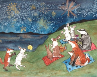 Summer Fireworks - Fine Art Print featuring Rabbits, Foxes, and a Badger