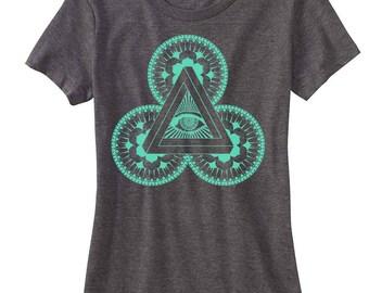 Women's POWER OF 3 Mandala Sacred Geometry Tee Psychedelic EYE T-shirt