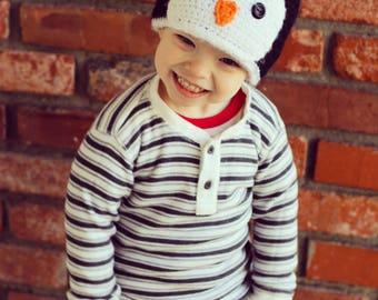 Penguin hat, winter, crochet kids hat, winter hat