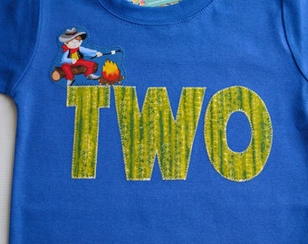 Boys 2nd Birthday Shirt Cowboy Campfire Marshmallow Applique Cactus Print Number 2 Two Western Second Birthday Ready to Ship