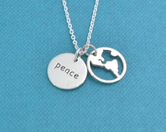 World peace jewelry etsy world peace necklace in sterling silver on a sterling silver cable chain world peace necklace aloadofball Image collections