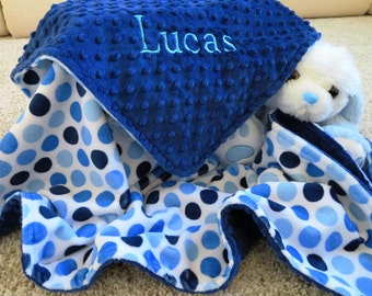 Baby Blanket, Personalized Baby Boy Blanket, Blue Baby Boy Blanket, Baby Gift, Baby Shower Gift, Minky Baby Blankets, Stroller Blanket