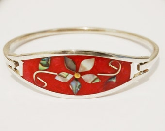 Sterling Silver Stamped Abalone Inlaid Bracelet.
