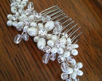 Wedding Hair Comb Bridal Hair Accessory with Pearls and Crystals and Rhinestones Bridal Head Piece Hairpiece Best Seller