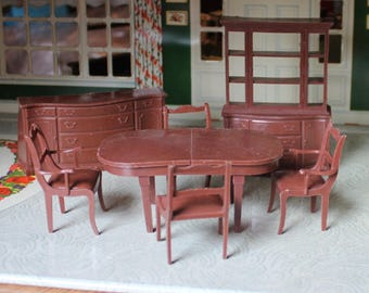 Marx plastic dollhouse furniture, Marxie Mansion brown dining room, Tin litho dollhouse miniature in soft plastic