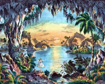 """1867 """"The fairy grotto"""" - Hand-cut wooden jigsaw puzzle for adults"""