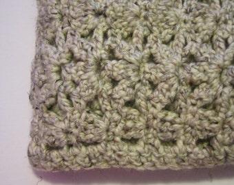 Beige Alpaca Blend Crocheted Afghan