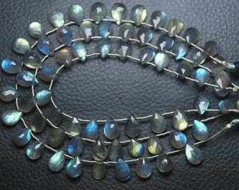 8 Inches, 15 Beads,Super Finest Blue Flash Labradorite  Faceted Pear Shape Briolettes Size 10mm aprx