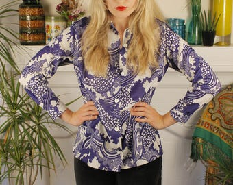 Kiss the Sky Vintage c. 1960's 1970's Psychedelic Psych Groovy Clouds and Flowers Button Up Top Shirt Blouse
