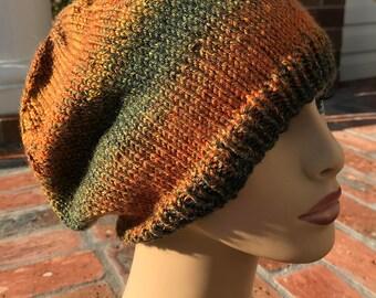 Knit Beret - Hand Knit Beret Fall Colors