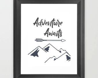 Adventure awaits, Boys nursery decor, printable art, Instant download, woodland nursery, watercolor print,  baby boy nursery, boys bedroom