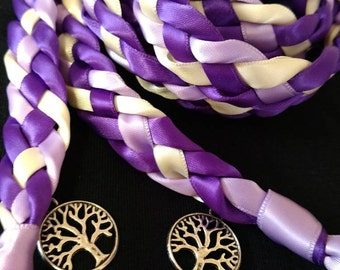 Purple, Lavender, and Ivory Handfasting Ceremony Braid- Tree of Life- 6 or 9 feet- Wedding- Braided Together- Handfasting- Fast Shipping