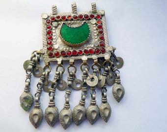 Handmade Vintage Kuchi Pendant from Afghanistan, Ethnic Rectangular Pendant with Red and Green Glass Cabochons and Dangle Charms