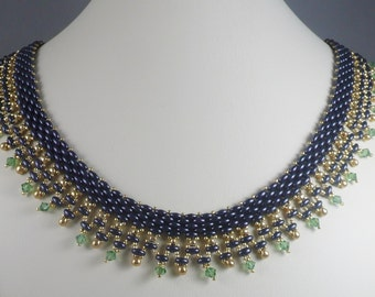 Woven Twin Bead Necklace Purple and Green