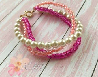 Girls pink bead bracelet - pearl bracelet for little girls and teens - seed bead bracelet - kids jewelry - teen jewelry
