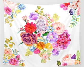 Colorful Floral Watercolor Painting Tapestry Wall Art Spring Flowers Wall Hanging Home and Dorm Decor Affordable Tapestries Gift for college