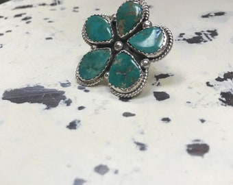Campito Turquoise Flower Ring Sterling Silver - Statement Piece - Adjustable