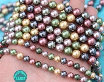 6mm 8mm 10mm 12mm full Strands 15.5inch Shell Made Beads,Mother Of Pearl Beads,Color Plating Round fake Pearl Beads