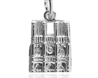 Notre Dame Charm Sterling Silver Pendant Solid .925 Paris France Cathedral Europe