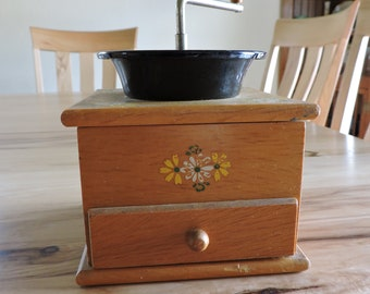 Vintage Coffee Grinder, Wooden Coffee Grinder with Painted-on Daisies, Mid-Century Coffee Grinder with Small Drawer
