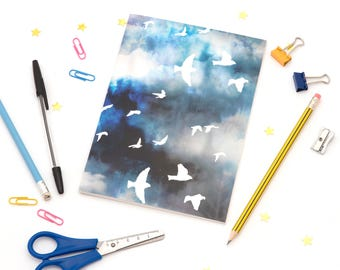 A5 Notebook with Birds in Flight Illustration