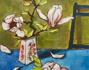 Last of the magnolia, acrylic still life, contemporary painting, 10x12 inches
