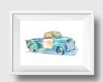 Old Pickup Truck Print - Blue Truck Print - Vintage Pickup Truck - Truck Wall Decor - Truck Wall Art