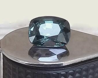 Stunning Grayish Blue NATURAL SPINEL / 3.54 Carats/ Very Good luster / Cushion mixed cut/ Fantastic stone