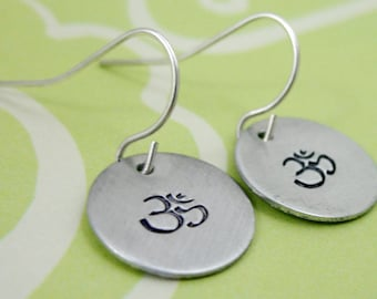 Om . Sterling Silver Earrings