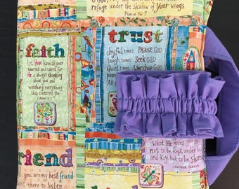 Girls Bible Cover Scripture Verse Fabric Multi-color fabric outside/lavender inside Bible Pouch Bible Covers for girls