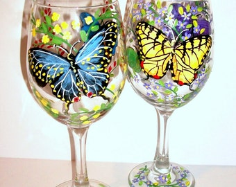 Butterflies and Flowers  (One ) Hand Painted Wine Glass 1 - 20 oz. Wine Glasses Black Swallowtail Yellow Swallowtail Zebra Butterfly
