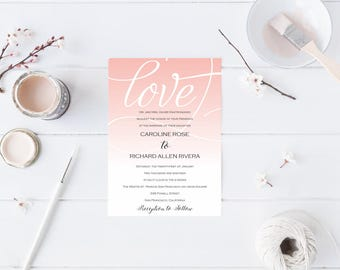 Editable and Printable Ombre Wedding Invitation Template - Instant Download