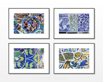 Mosaic Wall art, 8x10 print set,  Gaudi mosaic Set, Blue living room, Beach house decor, Bathroom decor, Office wall art