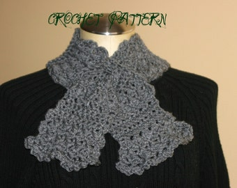 CROCHET PATTERN -  Vintage Style Cross Over/ Slit Scarf (Matches V. Style Leg Warmers, Boot Bands, and Boot Cuffs)