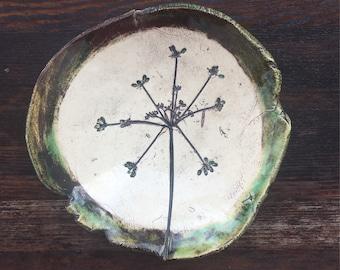 Earth Tone Ceramic Pressed Flora Ring Dish (900)